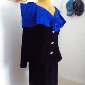 Black Velvet Suit w/Off Shoulder Blue Beaded Top
